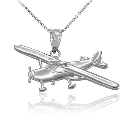 Sterling Silver Airplane Pendant Necklace