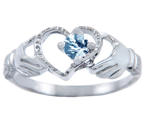 Silver Claddagh Heart Ring with Aquamarine CZ Stone