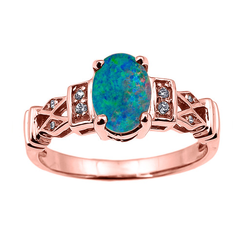 Rose Gold Australian Opal Doublet and Diamond Engagement Proposal Ring