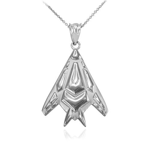 Sterling Silver Military Stealth Pendant Necklace