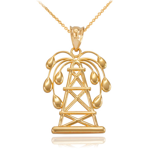 Yellow Gold Gushing Oil Well Pendant