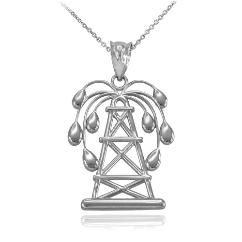 Sterling Silver Gushing Oil Well Pendant