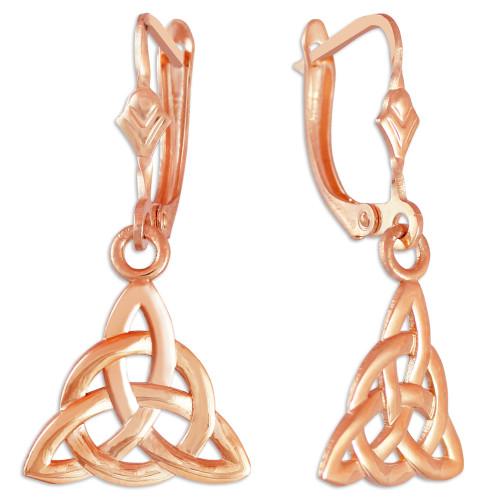 14K Rose Gold Irish Celtic Trinity Earrings