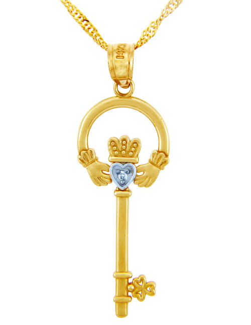 "Gold Claddagh Key Pendant with Diamond (w 18"" Gold Chain)"