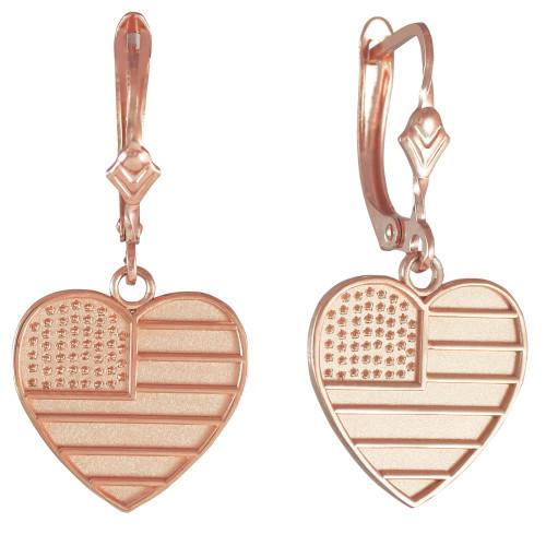 14K Rose Gold Heart Shape USA Flag Earrings