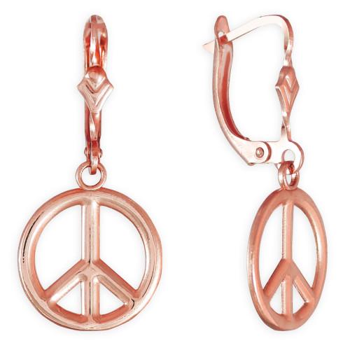 14K Rose Gold Peace Symbol Earrings