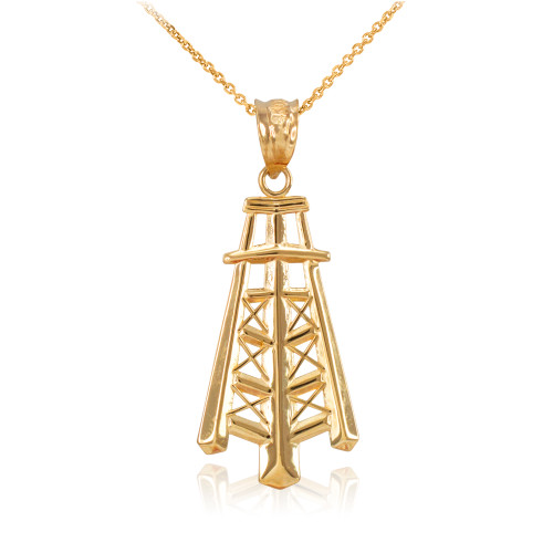 Yellow Gold Oil Well Tower Pendant