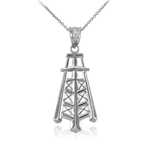 White Gold Oil Well Tower Pendant