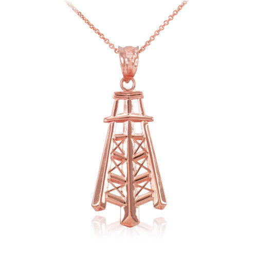 Rose Gold Oil Well Tower Pendant