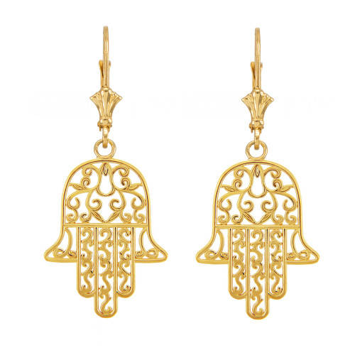 14k Yellow Gold Hamsa Earrings