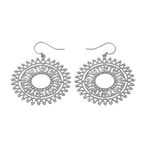 Sterling Silver Detailed Bohemian Circle Filigree Diamond Cut Dangling Earrings