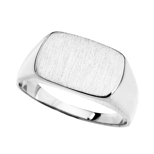 White Gold Rectangular Signet Ring