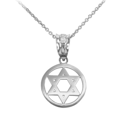 White Gold Encircled Star of David Pendant Necklace