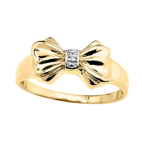 Yellow Gold Diamond Ribbon Bow Dainty Ring