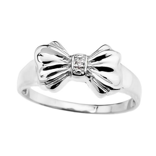 White Gold Diamond Ribbon Bow Dainty Ring