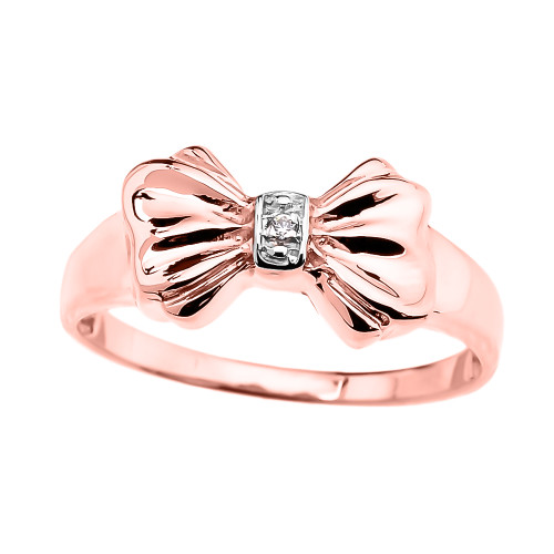 Rose Gold Diamond Ribbon Bow Dainty Ring