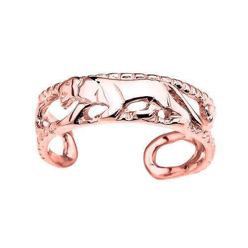 Rose Gold Open Design Panther Toe Ring