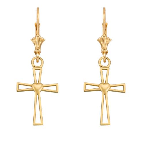 14k Yellow Gold Cutout Heart Cross Earrings