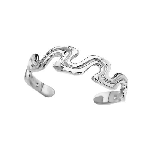 White Gold Wave Design Toe Ring
