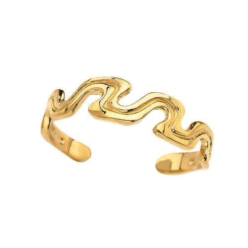 Yellow Gold Wave Design Toe Ring