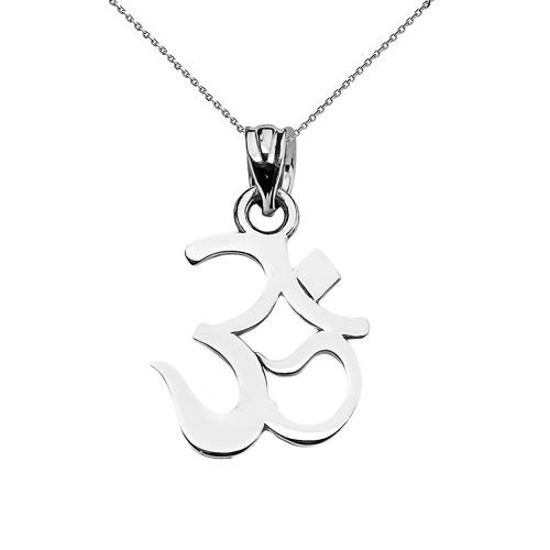 White Gold OHM (OM) Ganesh Pendant Necklace