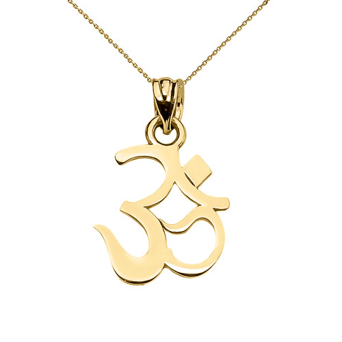 Yellow Gold OHM (OM) Ganesh Pendant Necklace