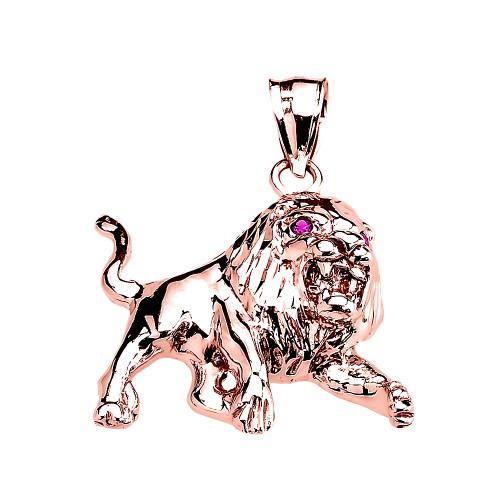 Rose Gold Red Cz Roaring Full Body Lion Pendant