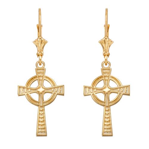 14k Yellow Gold Celtic Cross Earrings