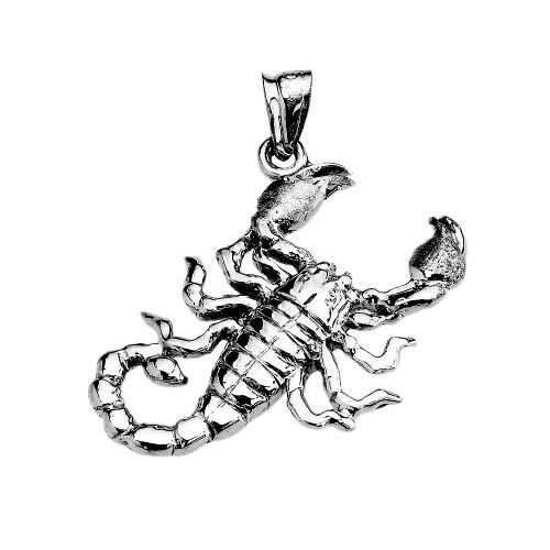 Sterling Silver Detailed Sideways Scorpion Pendant