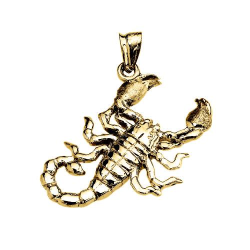 Yellow Gold Detailed Sideways Scorpion Pendant