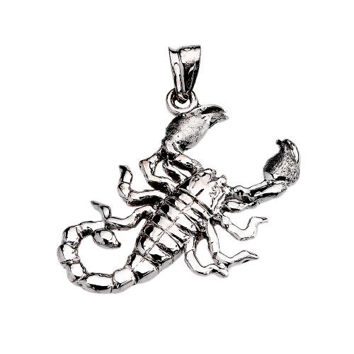White Gold Detailed Sideways Scorpion Pendant