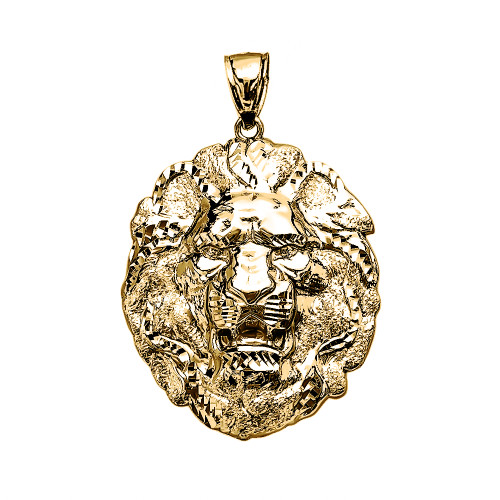 Yellow Gold Textured Lion Pendant