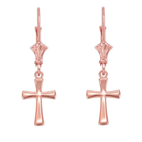 14k Rose Gold Rounded Cross Earrings