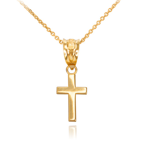 Yellow Gold Smooth Mini Cross Necklace