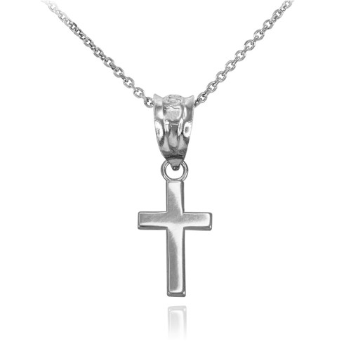 White Gold Smooth Mini Cross Necklace