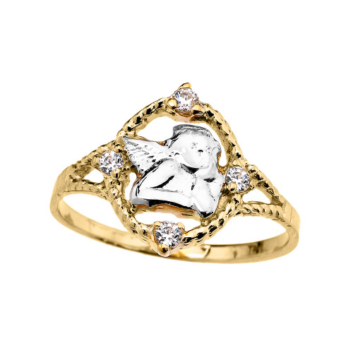 Yellow Gold Rope Design Angel with Cubic Zirconia Ladies Ring