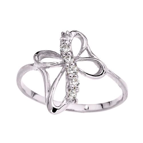 White Gold Dainty Cubic Zirconia Modern Cross Ring