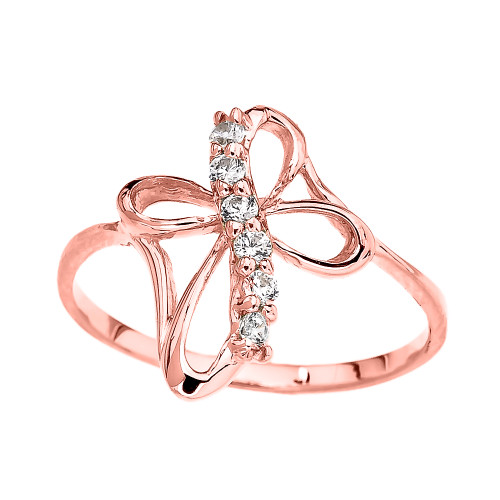 Rose Gold Dainty Cubic Zirconia Modern Cross Ring