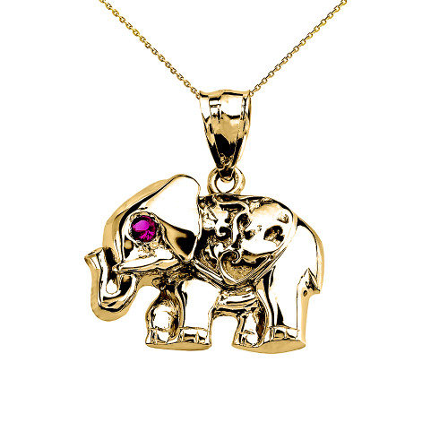 Yellow Gold Red CZ Elephant Pendant Necklace