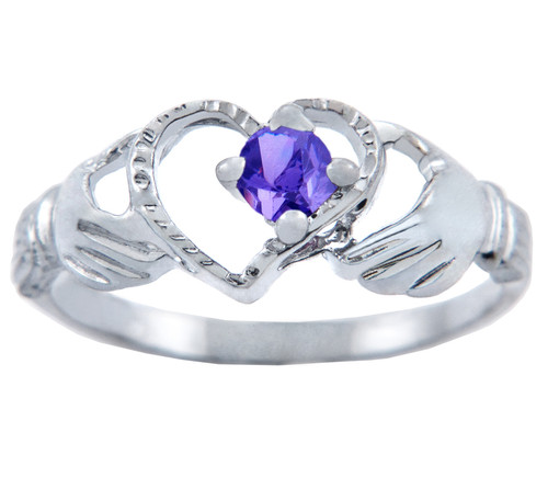 Silver Claddagh Heart Ring with Alexandrite CZ Stone