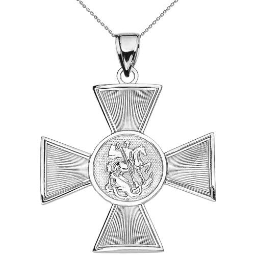 White Gold Saint George Russian Cross Pendant Necklace