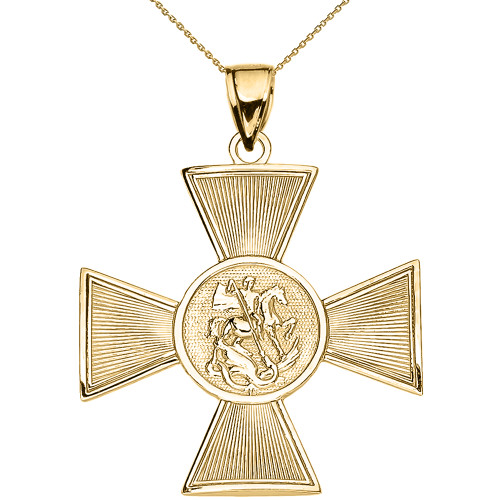 Yellow Gold Saint George Russian Cross Pendant Necklace