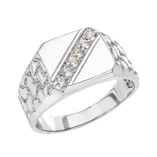 White Gold Cubic Zirconia Signet Men's Nugget Ring
