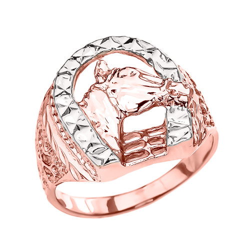 Rose Gold Horseshoe with Horse Head Ring