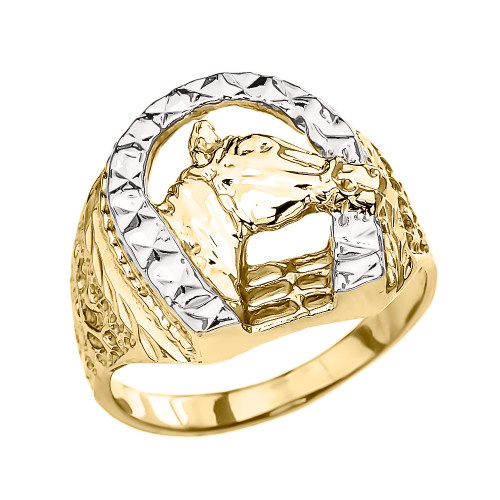 Yellow Gold Horseshoe with Horse Head Ring