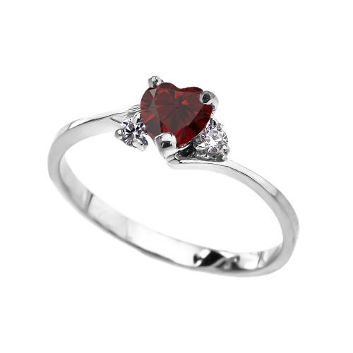 Dainty White Gold Garnet Heart And White Topaz Promise Ring