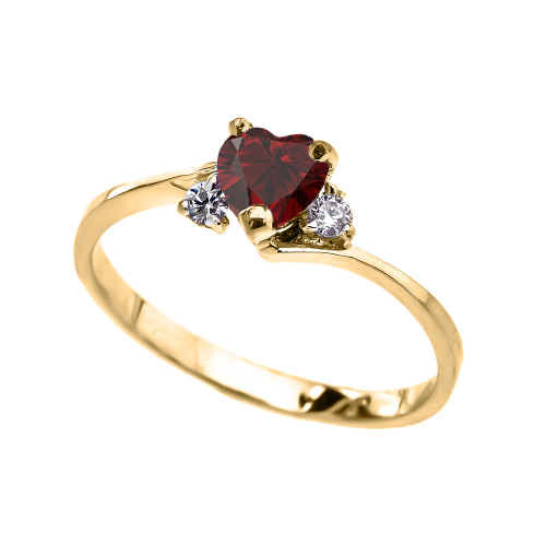 Dainty Yellow Gold Garnet And White Topaz Heart Promise Ring