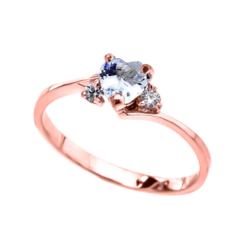 Dainty Rose Gold CZ Aquamarine Heart Promise Ring