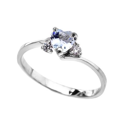 Dainty White Gold CZ Aquamarine Heart Promise Ring