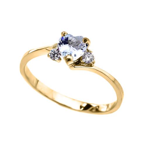 Dainty Yellow Gold CZ Aquamarine Heart Promise Ring